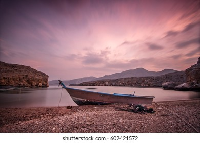 Old boat on the beach, Musandam peninsula, Oman, Arabia (long time exposure image)