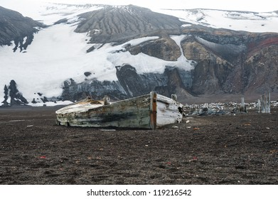 Old boat on the Deception island, Antarctica