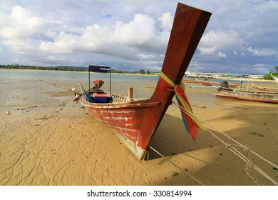old boat on dry beach