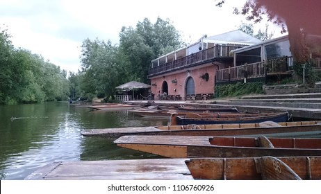 Old boat station boathouse Cherwell Oxford UK. An Award-winning Restaurant and Punt Station on the banks of the River Cherwell just outside of the centre of historic Oxford.