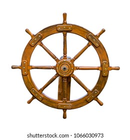 Old boat steering wheel isolated on white. Useful for different concepts of leaderships