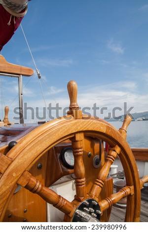 Old Boat Steering Wheel Wood Stock Photo (Edit Now