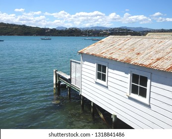 Old boathouse at Evans Bay, Wellington harbour New Zealand