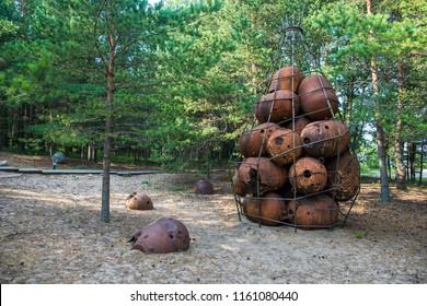 Old bombs in the isalnd Naissaar, Estonia