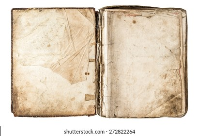 Old book with aged pages isolated on white background. Antique scrapbook object