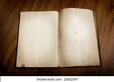 Old book with blank parchment pages