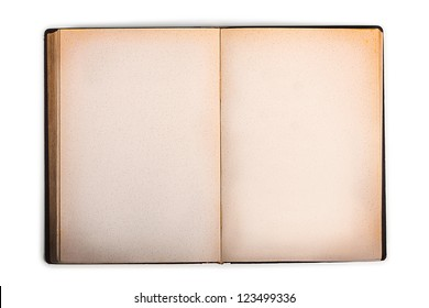 old book with blank yellow stained pages
