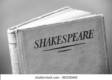 An old book by Shakespeare in black and white
