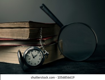 old book clock magnifying photo toning