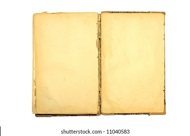 Old book open. Isolated on white background.