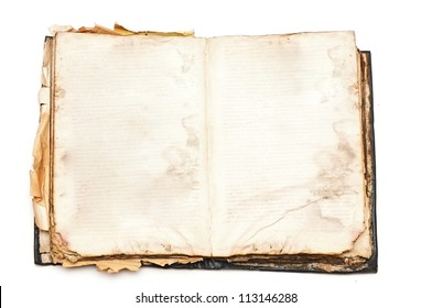 Old book open isolated on white background