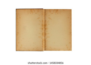 Old book open isolated on white background, Top view