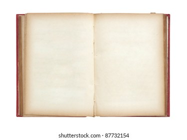 Old book open isolated on white background with clipping path