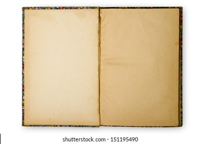 An old book opened to blank pages with white background.