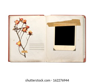 Old book and photos. Objects isolated on white background