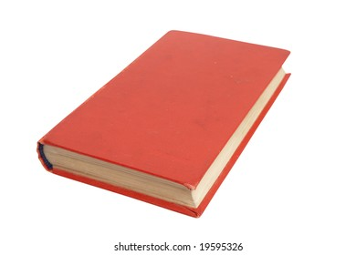 The old book in a red cover. It is isolated