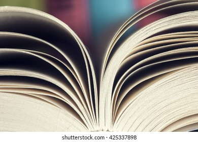 old book. seamless texture of book pages.  Open book, fanned pages,  free copy space. Back to school copy space. Education background.