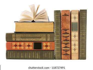 Old book shelf isolated on white background