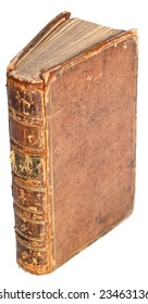 Old book standing up isolated by white