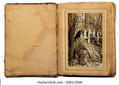 Old book in vintage style. Halloween story