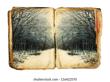 Old book with winter forest on white background