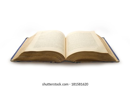 Old book of XIX century isolated on white background