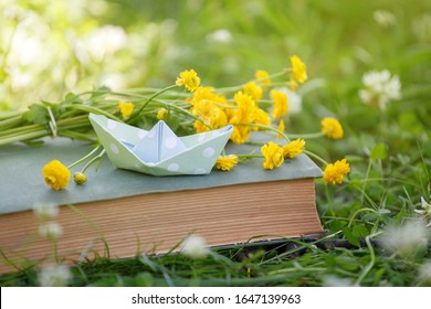 Old book, yellow flowers and papaer boat in green grass over yellow sun light. Magic book, time to dreaming, relax spring summer season concept