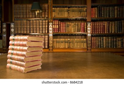 Old books in classic library series
