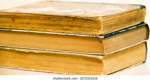 Old books close-up - web banner of reading, study concept