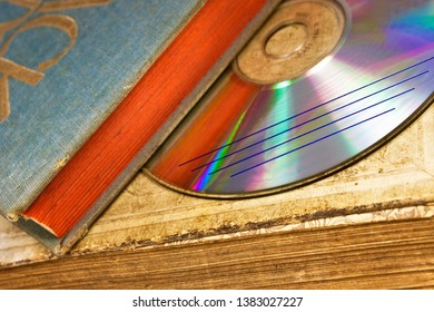Old books and disc close up