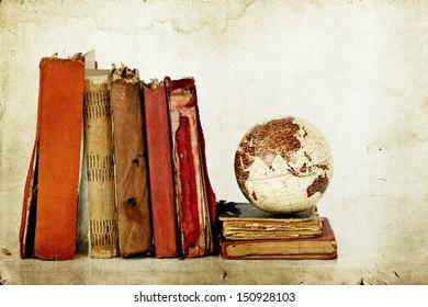 Old books and globe earth