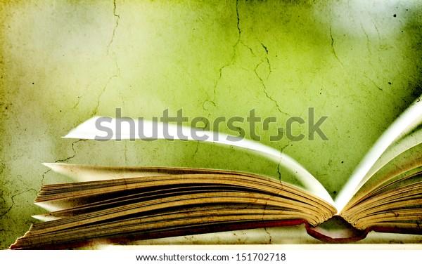 Old books on vintage background