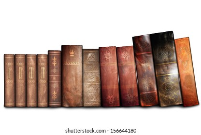 Old books on the white background