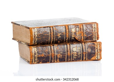 old books on white background.  Vintage books