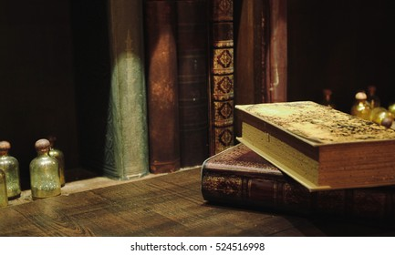Old books on wood background, Still life style