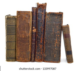 Old books pile vertical isolated