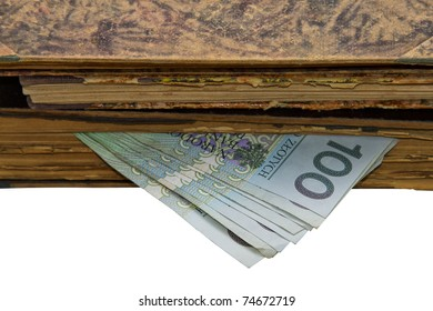 Old books and Polish banknotes - Composition