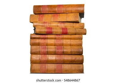 Old books shelf isolated on white background