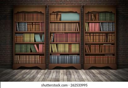 Old bookshelves in room background. 3D rendering