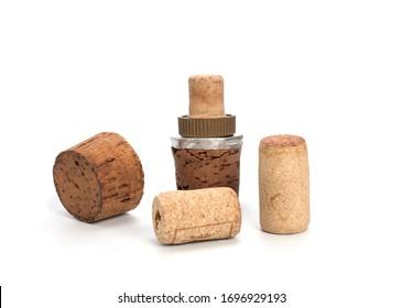 Old bottle cork on a white background