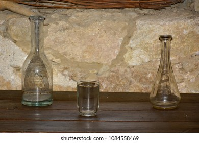 The old bottles and glass for wine