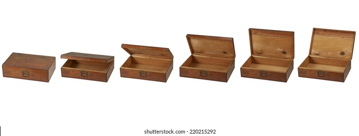 Old boxes isolated on pure white background with clipped path