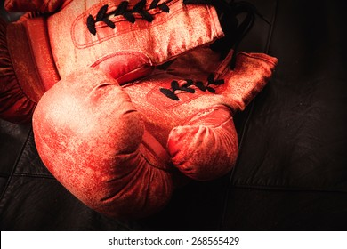 old boxing gloves concept