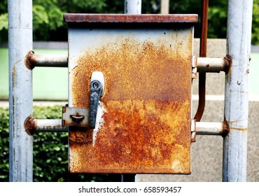 Old box.Metal box for electricty on post.Thailabd.