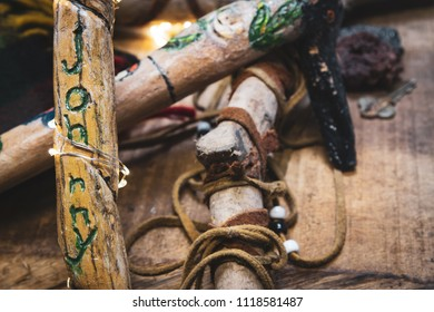 Old Boy Scout Walking Sticks, Johnny has carved his name in one.