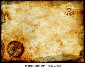 old brass or golden compass with grunge vintage map background, vintage paper background