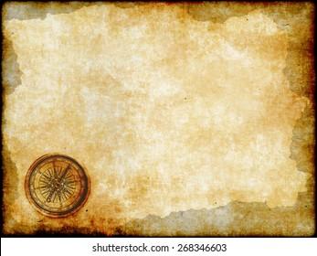 old brass or golden compass with vintage map background, vintage paper background