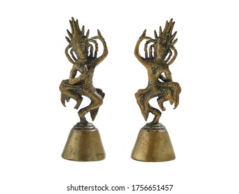 Old brass idol isolated on white background