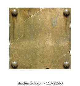 Old brass metal plate with screws and scratches