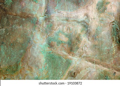 old brass metal texture background with oxidation